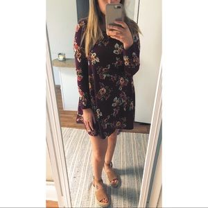 Maroon floral dress with long sleeves